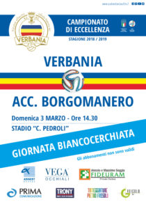 Locandina della Giornata Biancocerchiata Verbania Calcio del 3 marzo 2019