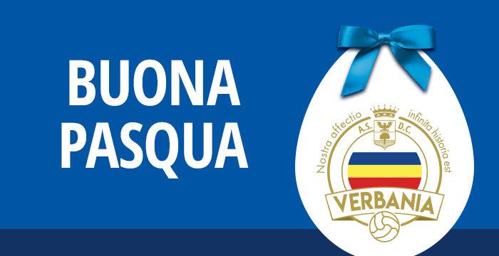 Uovo di Pasqua con logo Verbania Calcio per augurare Buona Pasqua