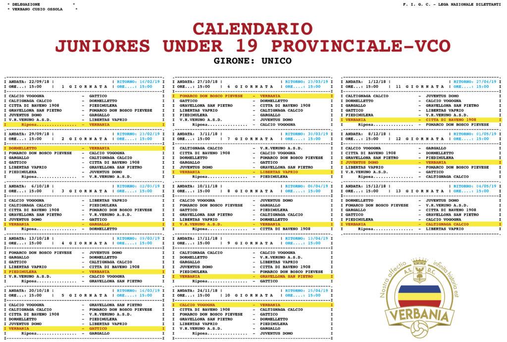 Verbania Calcio Juniores Calendario