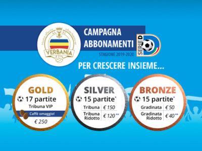 Gold silver bronze e tessera socio sono le tre possibilità della Campagna Abbonamenti Verbania Calcio 2019-2020 per la Serie D
