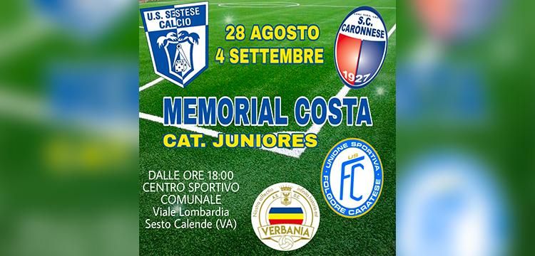 Locandina del Memorial Costa, prima uscita ufficiale della Juniores Nazionale Verbania Calcio