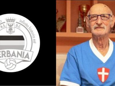 Giovanni Nini Udovicich ex calciatore e Capitano del Novara Calcio cui va il tributo del Verbania Calcio