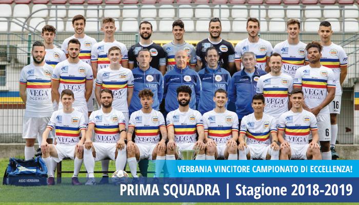 Prima Squadra Verbania Calcio vincitrice del Campionato di Eccellenza Stagione 2018-2019